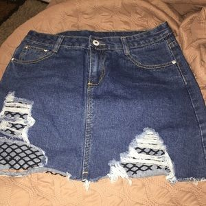 Denim Net Hole Skirt
